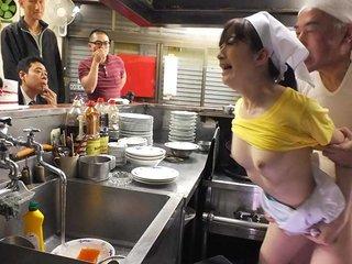 Mimi Asuka fucked in a restaurant in public