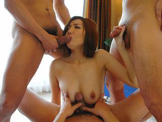 Japanese slut Yuna Hirose enjoys four cocks