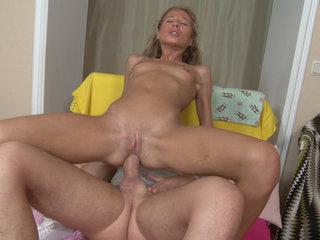 Slender chick loves anal